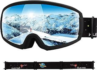 عینک اسکی KUSTAR Ski Goggles Kids ، عینک برفی OTG ضد مه ، عینک اسنوبرد سازگار با کلاه ایمنی ، محافظت 100٪ UV400 برای جوانان ، دختران پسر نوجوان