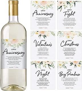 Floral Wedding First Wine Bottle Labels, Set of 6 Waterproof Labels, Wedding Gift, Marriage Milestones, Wedding Firsts