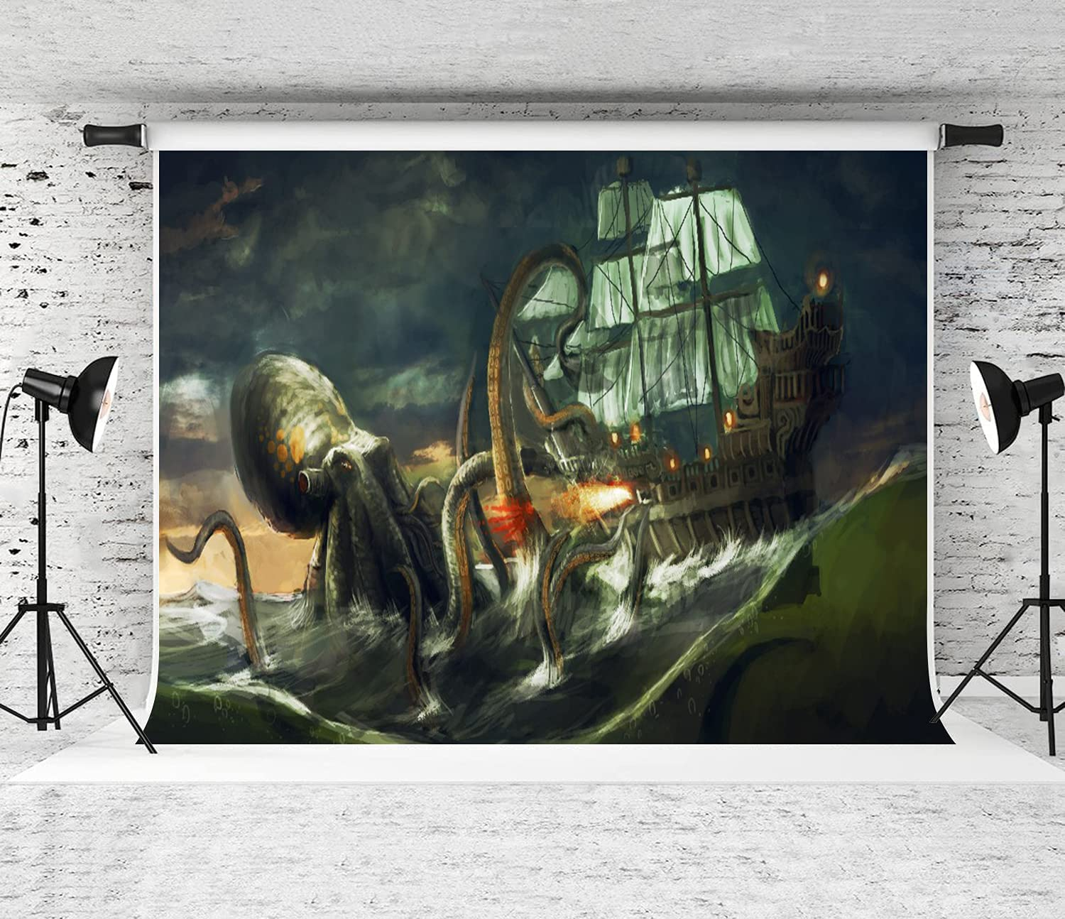 JISMUCI Spring new work Photography Background Max 63% OFF Sea Giant Octopus Attack Monster