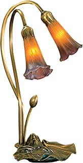 9 in. Pond Lily Accent Lamp (Amber and Purple)