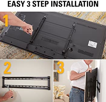 """Sanus Super Low Profile Fixed Position TV Wall Mount Bracket for 40"""" - 80"""" TVs - Features Slim 1"""" Profile, Easy Acces..."""