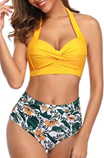 Womens High Waisted Bikini Swimsuits Vintage Halter Push Up Tops Sexy Tummy Control Ruched Retro Two Piece Bathing Suits
