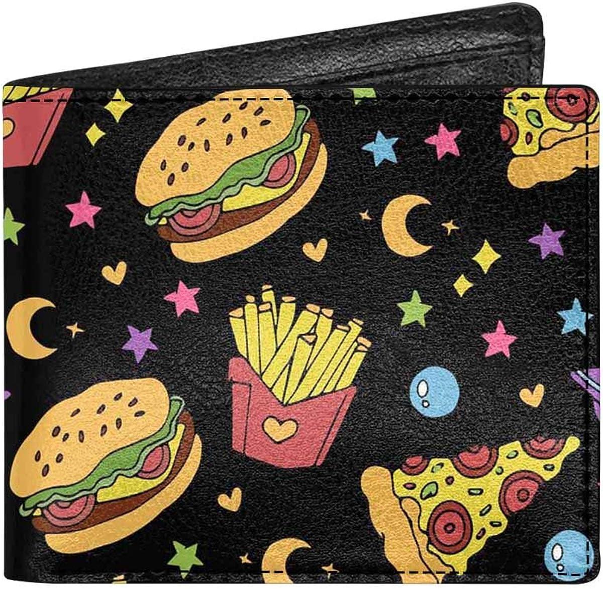 INTERESTPRINT Pizza Slice Doodles Classic PU Leather Bifold Wallet Coin Pocket Purse for Men, Women