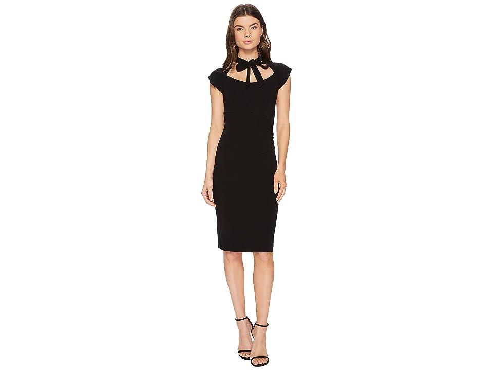 Nicole Miller Structured Heavy Jersey Neck Tie Dress (Black) Women