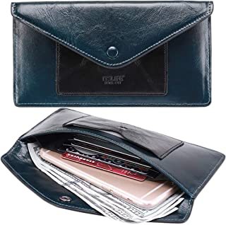 Women's Wallet Leather RFID BLOCKING Ultra Thin Envelope Purse Travel Clutch with ID Card Holder and Phone Pocket