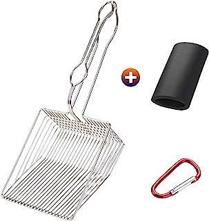Ownpets Non-Stick Cat Litter Scoop with Foam Handle, Durable Coated Metal Litter Scooper with Deep Shovel, Carabiner & Com...
