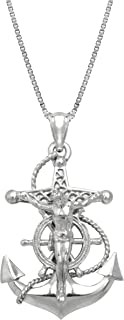 Sterling Silver Crucified Jesus on an Anchor Necklace Pendant with 18