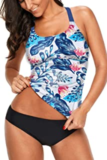 GOLDPKF Womens Swim Top Striped Printed Strappy Back Halter Racerback Tankini Swimsuit (S-XXXL)
