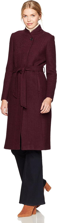 Cole Haan Womens Textured Wool Molded Collar Coat with Self Belt Wool Coats