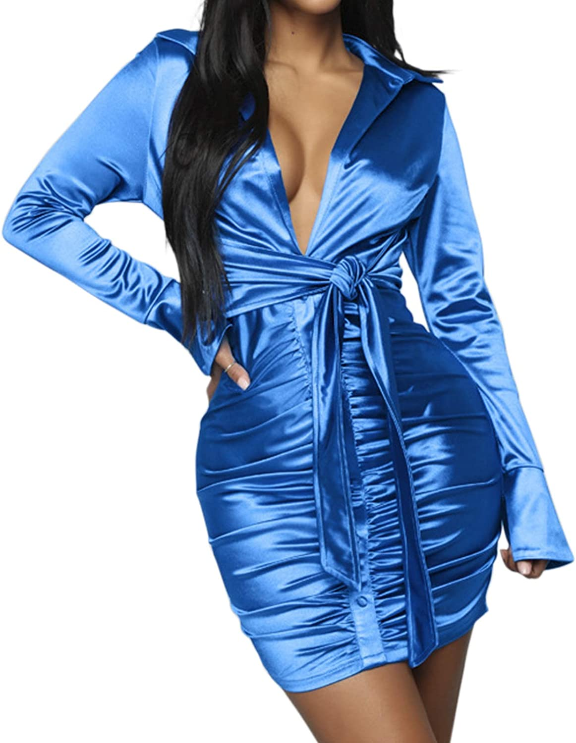 Sedrinuo Women Sexy Long Sleeve Club Outfits Dress Tie Front V Neck Ruched Mini Dresses