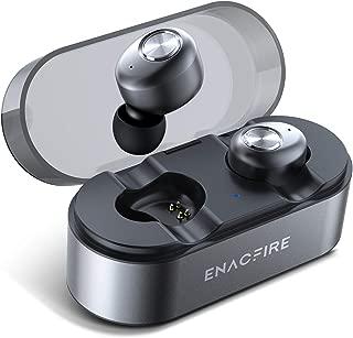 【令和革新モデル 片耳8時間継続使用 Qi無線充電 Apt-X IPX7】ENACFIRE ワイヤレスイヤホン Bluetooth 無線充電対応 小型軽量 IPX7防水 両耳通話可 CVC8.0ノイズキャンセル 高音質 重低音 安定 ブルートゥース イヤホン 左右分離型 Siri起動 通話マイク内蔵 自動ペアリング iPhone/iPad/Android適用 (E18 Plus)