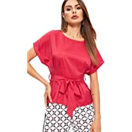 Milumia Women's V Neckline Self Tie Short Sleeve Blouse Tunic Tops