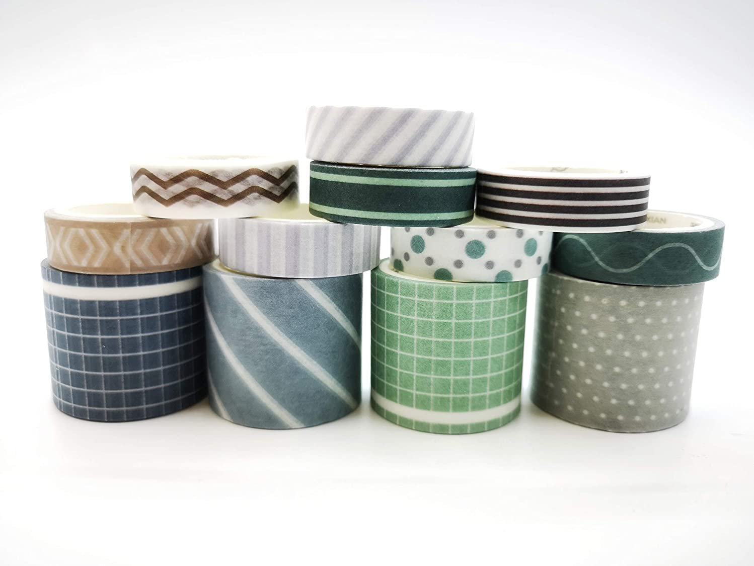 Shades of Blue and Green Striped washi Tape Set