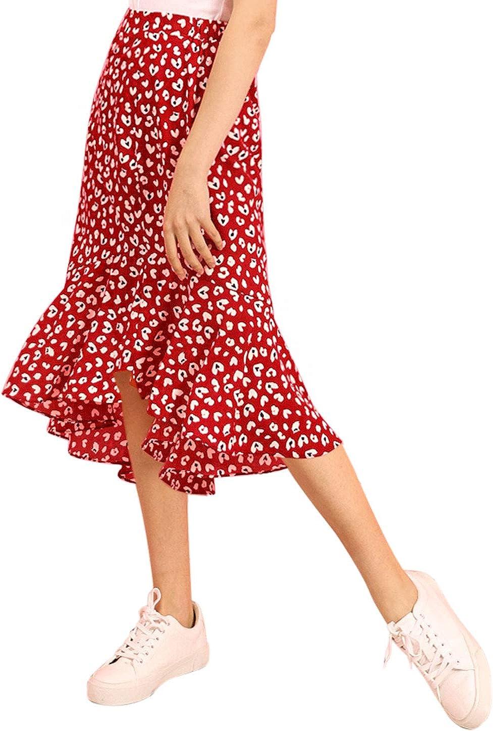 Allegra K Women's Leopard Floral Printed Ruffle Hem Mermaid Asymmetrical Midi Skirt
