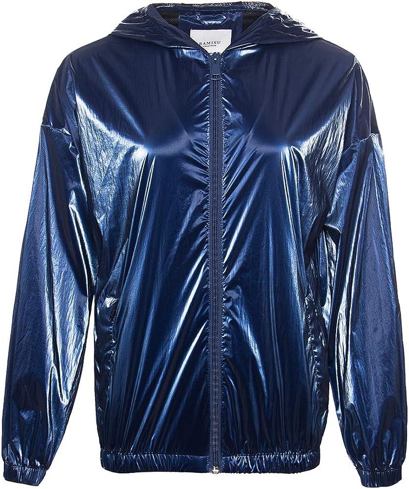 RAMISU Women Metallic Shiny Lightweight Switchback Water-repellent Jacket Hooded Raincoat Front-Zip Coat