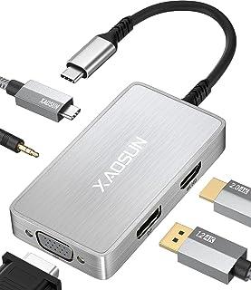USB Cハブ マルチポート XAOSUN 5 in 1 ドッキングステーション USB Type C ハブ 4k@30HzHDMIポート+4k@60Hz DPポート(displayport)+1080P@60Hz VGAポート+100W T...