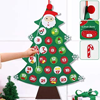 OurWarm 3D Felt Christmas Advent Calendar 2019, 24 Days Countdown to Xmas Tree Advent Calendars for Christmas Home Wall Door Hanging Decorations, 24 x 34 Inch