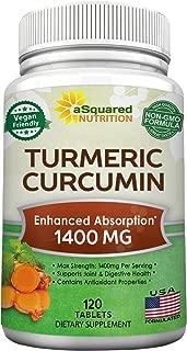 Pure Turmeric Curcumin 1400mg Supplement - 120 Tablets - 100% Natural Tumeric Root Powder & Black Pepper Extract Formula, Joint Pain Support Veggie Pills, Anti-Inflammatory Antioxidant