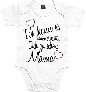 Mister Merchandise Mister Merchandise Baby Body Ich kann es kaum erwarten Dich zu sehen Mama Strampler liebevoll bedruckt Wiedersehen Weg Reise Weiß, 0-3