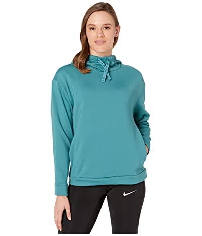 Nike Therma All Time Ribbon Drawcord Pullover Hoodie (Mineral Teal/Black) Women