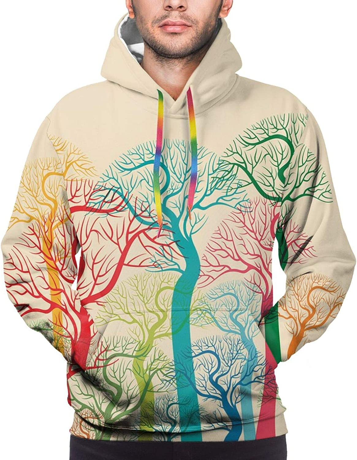 Men's Hoodies Sweatshirts,Colorful Last Sun Rays of The Day Over The Sea Waves Reflections Tropics