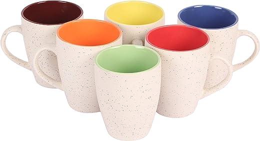 Anwaliya Janus Series Ceramic Coffee Mugs - 6 Pieces, White Marble, 250 ML