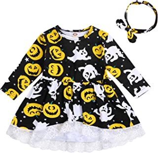 Halloween Toddler Baby Girls Smile Pumpkin Ghost Black Party Lace Dress+Headband Fall Long Sleeves Irregular Trim Outfit