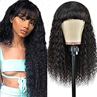Human Hair Wig With Bangs 10 Inch Short Bob Wig Water Wave Human Hair Wigs Machine Made Wigs With Bangs Glueless Human Hai...