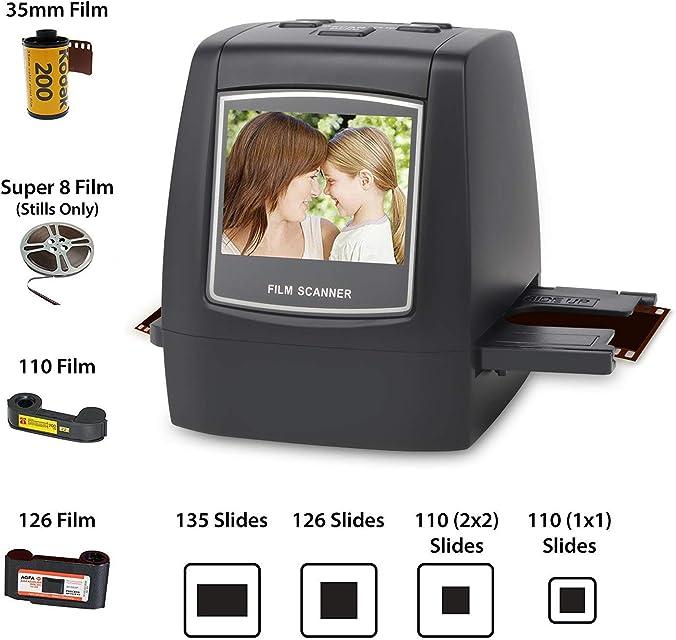DIGITNOW! 22MP Escáner de negativos y diapositivas  Convertidor digital con 24LCD para 35 mm/ Super 8/ 110/ 126 película
