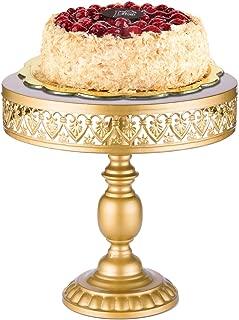 18K Gold Antique Metal Cake Stand, Round Cupcake Stands, Wedding Birthday Party Dessert Cupcake Pedestal/Display/Plate (12in)