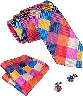 Plaid Ties Check Mens Necktie Set with Handkerchief Cufflinks Classic