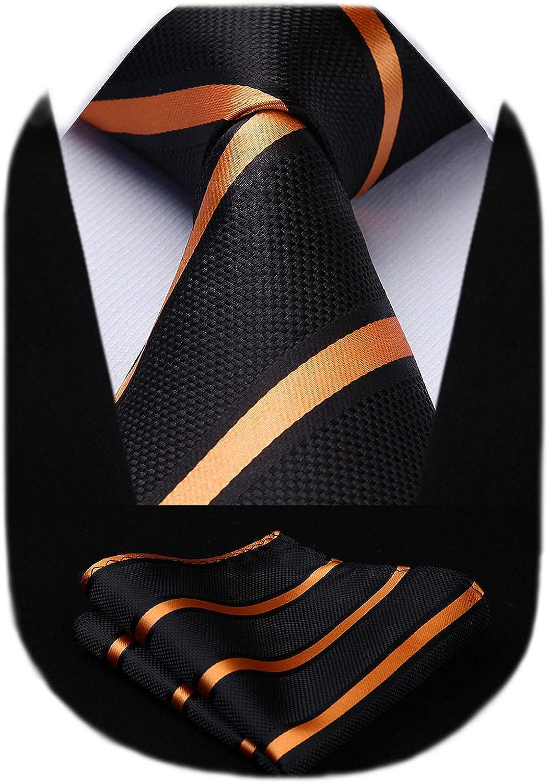 HISDERN Men's Striped Tie Woven Classic Necktie for Men With Pocket Square Set Formal Wedding