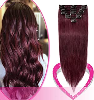 Remy Clip in Hair Extensions 100% Human Hair 20 Inch 70g Standard Weft 8 Pcs 18 Clips Thick Soft Silky Straight Hair for Women Valentin's Day Gift Beauty #99J Wine Red