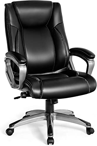 wholesale Giantex 500LBS Big and Tall Leather Chair, Ergonomic Office high quality Chair, High Back Executive Computer Desk Chair w/Adjustable Lumbar Support, Padded Armrest Thicker Seat Cushion wholesale Computer Task Chair (Black) outlet online sale