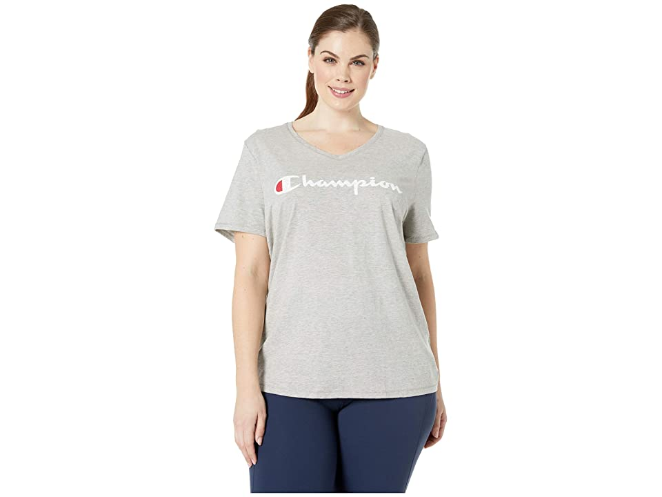 Champion Plus Double Dry(r) Cotton Tee Graphic Y07245 (Oxford Grey Heather) Women