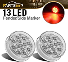 Partsam 2 Pcs Mini-Reflex Red Clear Lens Side Indicator LED Marker Truck Light w/2 Standard Pin, Sealed Faceted 2.5