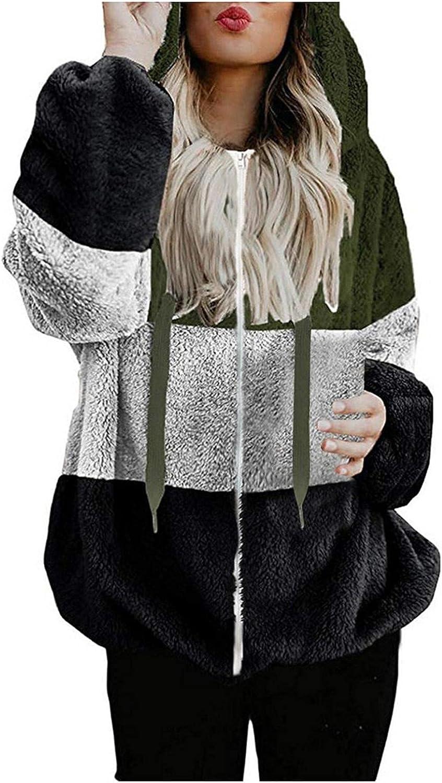 Hoodies for Women Warm Fluffy Winter Coat Hoodie Tops Zipper Color Block Pocket Long Sleeve Sweatshirt Pullover Jumper Coat