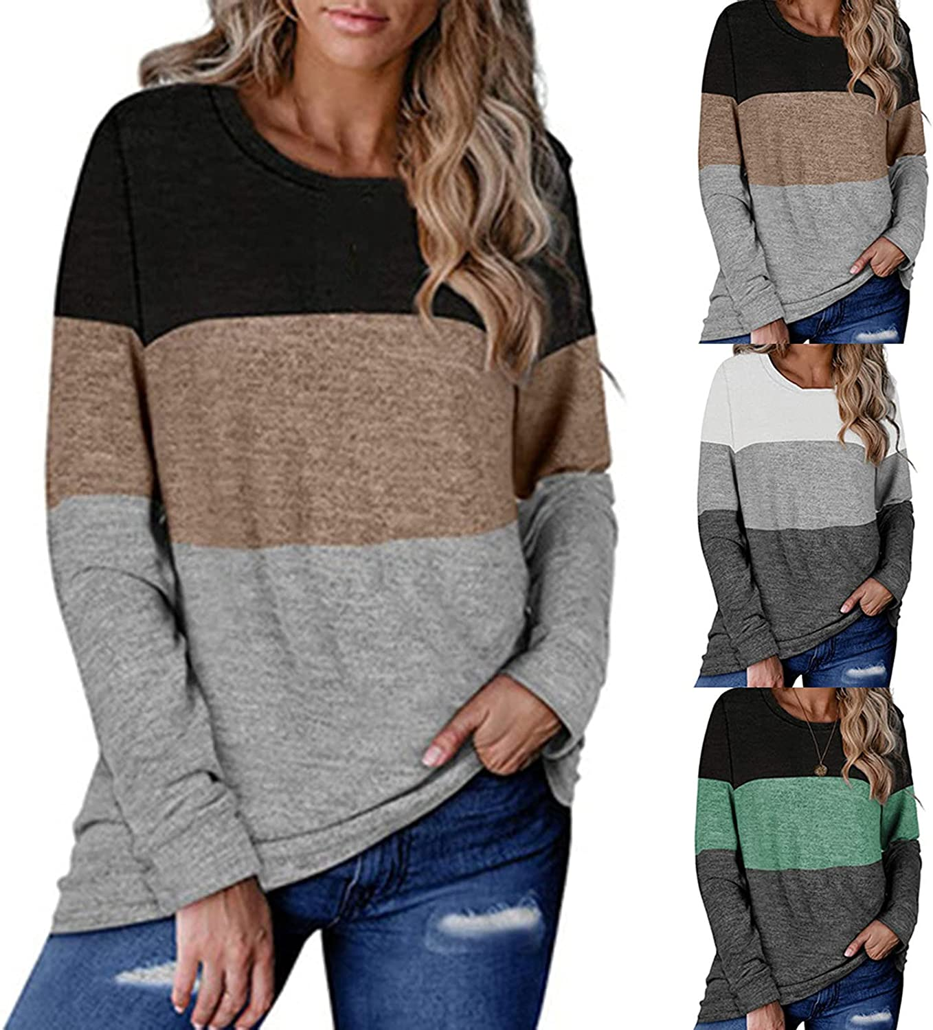 Womens Tops Casual Patchwork Blouse Long Sleeve T Shirt Color Block Graphic Print Sweatshirt Round Neck Pullover Tunic
