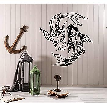 Amazon Com Vinyl Wall Decal Koi Karp Japanese Fish Asian Style Yin Yang Stickers Large Decor 1425lk Home Kitchen