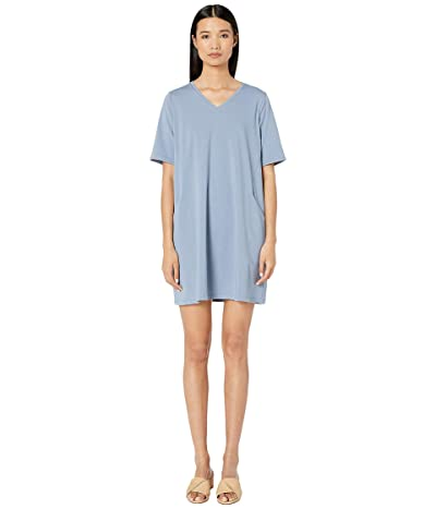 Eileen Fisher Organic Cotton Stretch Jersey V-Neck 3/4 Sleeve A-Line Dress (Chambray) Women