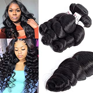 Anknia Brazilian Virgin Hair Loose Wave 3 Bundles Deals Good Cheap Weave 8A Mink Unprocessed Wet And Wavy Human Hair Bundles Weave Wefts Remy Human Hair Extensions Natural Black Color 16 18 20 Inch