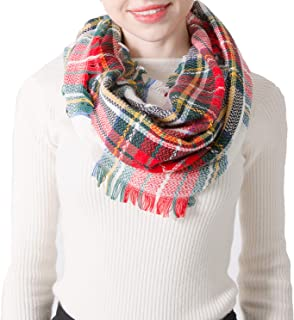 ANCHOVY Winter Warm Infinity Scarf Tassel Plaid Knit Soft Neck Warmer Circle Scarf S002