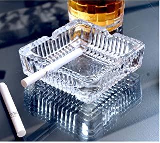 NSKGOLD Classic Square Shaped Glass Ash Tray - Set of 1
