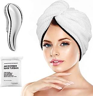 Microfiber Hair Towel Wrap Turban - Quick Dry Head Wraps Women Towel Hair Wrap Travel Towel Twist Hat Magic Drying Shower Wrap Absorbent Turbans Wrap for Sleeping Accessories - Bonus Silver Comb