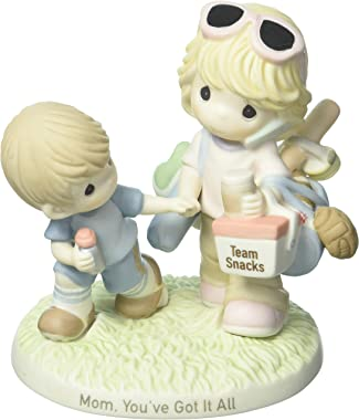 Precious Moments Mom You've Got It All Mother & Son with Sports Gear Bisque Porcelain Home Decor Collectible Figurine 173008