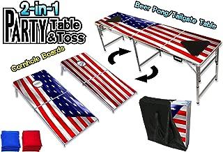 PartyPongTables.com Cornhole Boards & Beer Pong Table - LED Lights - USA, Wood, Dry Erase - Choose Your Model