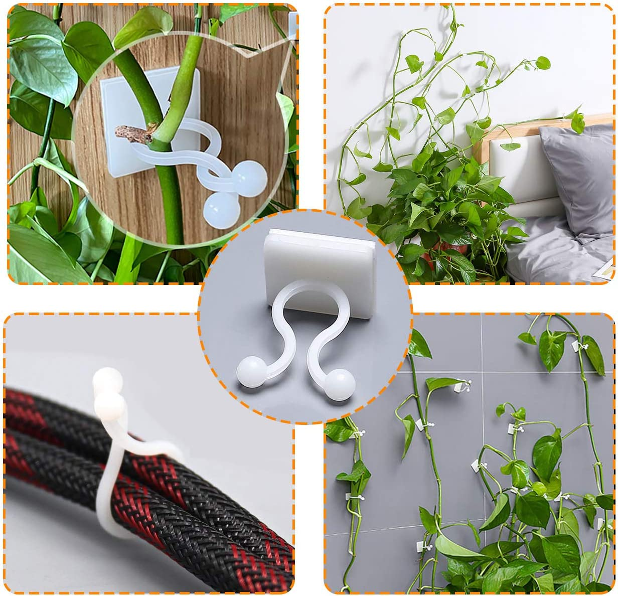 S-100pcs Plant Clips,PHLSTYLE Plant Climbing Wall Clip Traceless Invisible Self-Adhesive Plant Hook for Vines Climbing Wall Fixture Holder