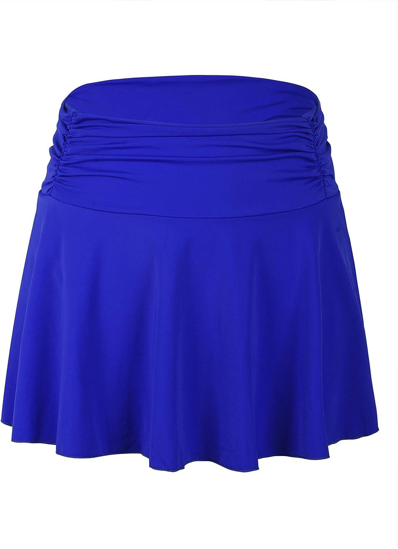 Septangle Women's High Waisted Shirred Bikini Bottom Skirt Tummy Control Swimwear