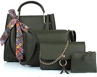 Mammon Women's Green PU Leather Handbag Combo (4ribn-green-tie)