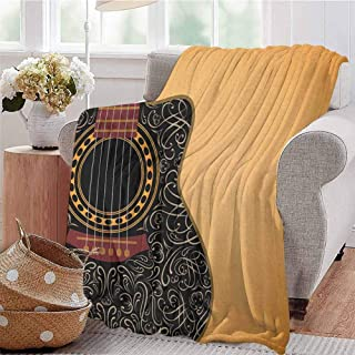 Guitar Children's Blanket Clipped Guitar with Vintage Floral Folk Ornaments Musician Hobbies Lightweight Soft Warm and Comfortable W57 x L74 Inch Pale Orange Black Maroon